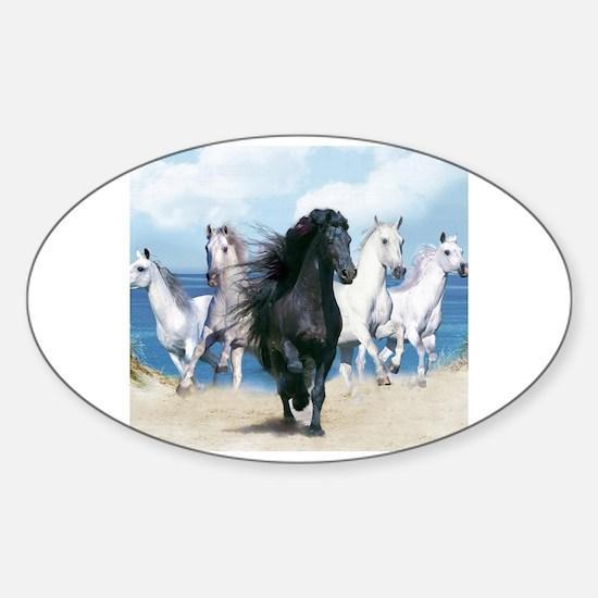 Cute Wild horses Sticker (Oval)