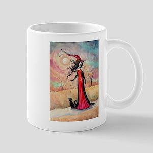 Autumn Stroll Witch Black Cat Fantasy Art Mugs