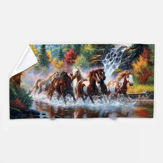 Funny Wild horses Beach Towel