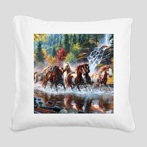 Wild Creek Run Square Canvas Pillow