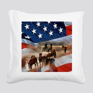 American Wild Square Canvas Pillow