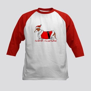 Red Piebald Santa Kids Baseball Jersey