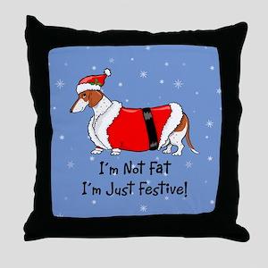 Red Piebald Santa Throw Pillow