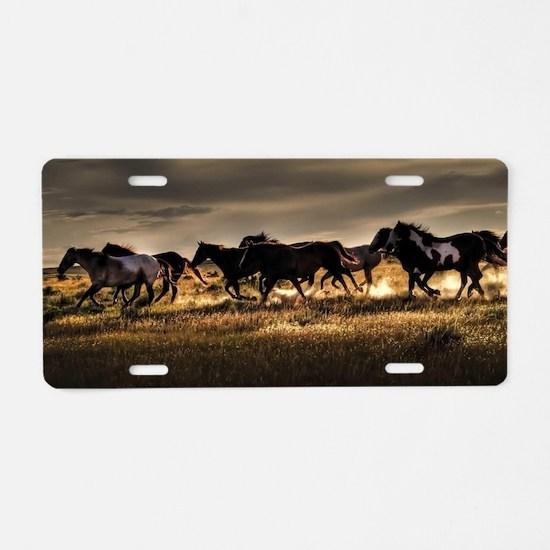 Cool Wild horses Aluminum License Plate