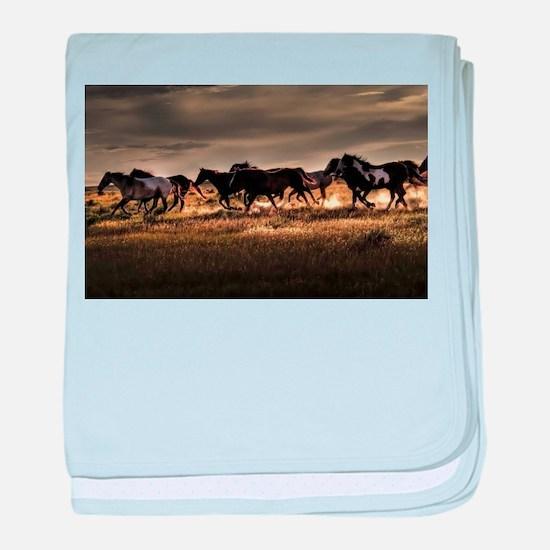 Wild Horses Running Free baby blanket