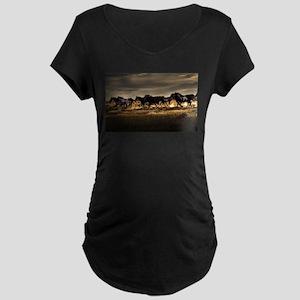 Wild Horses Running Free Maternity T-Shirt