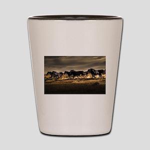 Wild Horses Running Free Shot Glass