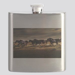 Wild Horses Running Free Flask