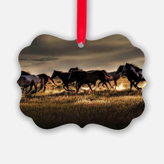 Wild Horses Running Free Ornament