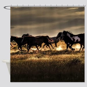 Wild Horses Running Free Shower Curtain