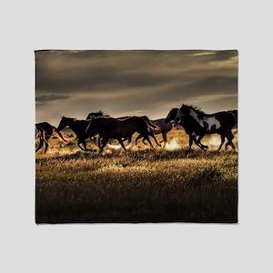 Wild Horses Running Free Throw Blanket