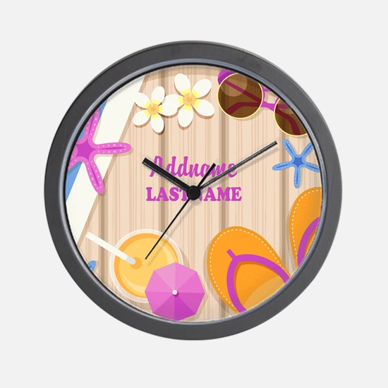 Personalized Summer Girly Wall Clock