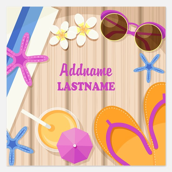 Personalized Summer Girly 5.25 x 5.25 Flat Cards