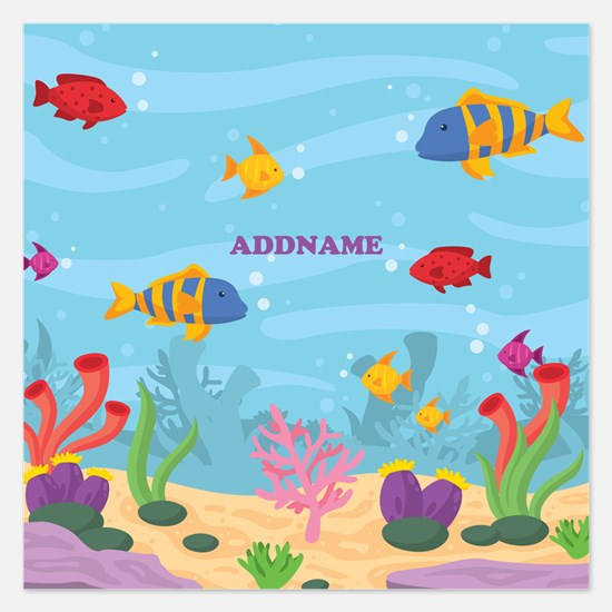 Ocean Aquatic Personalized 5.25 x 5.25 Flat Cards