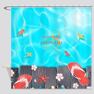 Summer Beach Flip Flops Starfish Pe Shower Curtain