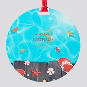 Summer Beach Flip Flops Starfish Pe Round Ornament