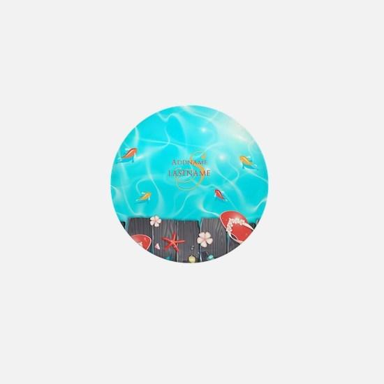 Summer Beach Flip Flops Starfish Perso Mini Button