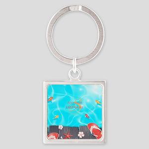 Summer Beach Flip Flops Starfish P Square Keychain