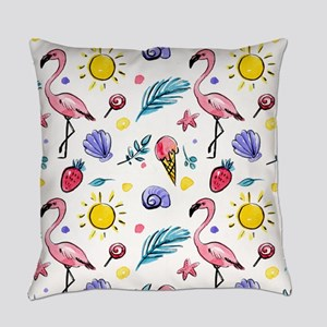Flamingo Party Watercolor Everyday Pillow
