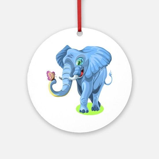 Cartoon Elephant Round Ornament