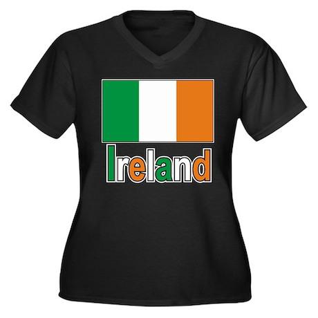 Ireland Flag Women's Plus Size V-Neck Dark T-Shirt