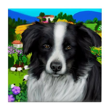 BORDER COLLIE DOG black & white Tile Coaster