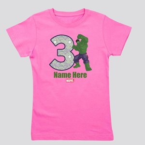 Personalized Hulk Age 3 Girl's Tee