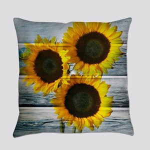Rustic Sunflowers Blue Wood Everyday Pillow