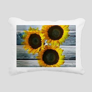 Rustic Sunflowers Blue Wood Rectangular Canvas Pil