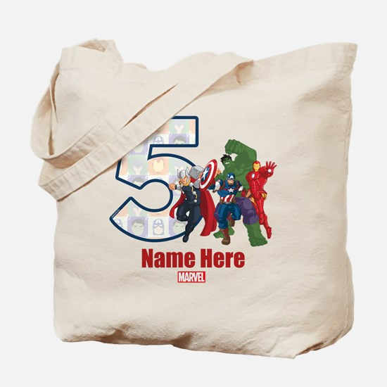 Personalized Avengers Birthday Age 5 Tote Bag