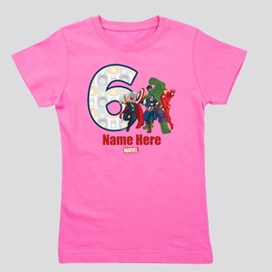 Personalized Avengers Birthday Age 6 Girl's Tee