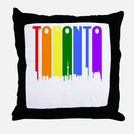 Toronto Gay Pride Rainbow Cityscape Throw Pillow