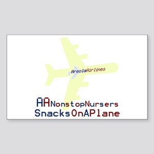 Snacks on a Plane Rectangle Sticker