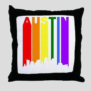 Austin Gay Pride Rainbow Cityscape Throw Pillow