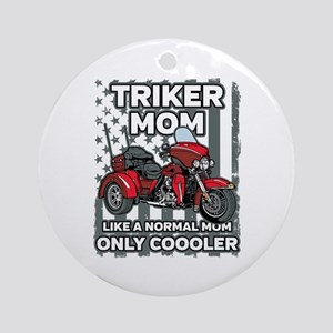 Motorcycle Triker Mom Round Ornament
