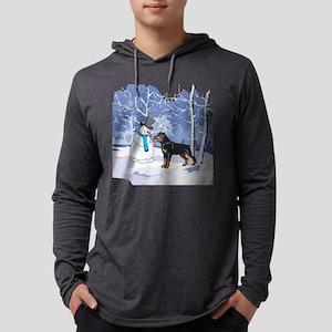 Rottweiler & Snowman Christmas Long Sleeve T-Shirt