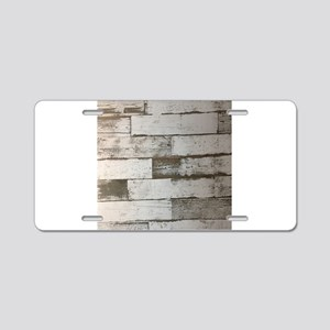 barnwood french country far Aluminum License Plate