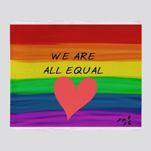 We are all equal heart Throw Blanket