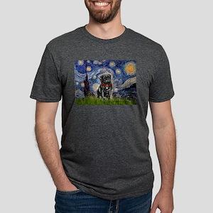 Starry Night / Black Pug T-Shirt