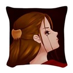 Looking Back - Red Woven Throw Pillow