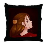 Looking Back - Red Throw Pillow