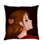 Looking Back - Red Everyday Pillow
