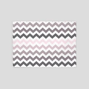 Pink Gray Ombre Chevron 5'x7'Area Rug
