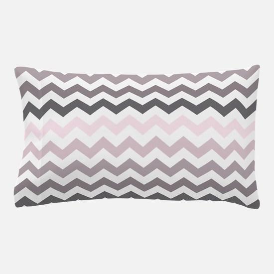 Pink Gray Ombre Chevron Pillow Case