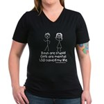 LSD saved my life Women's V-Neck Dark T-Shirt