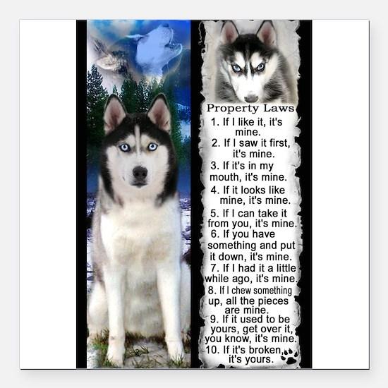 "Siberian Husky Dog Laws Rules Square Car Magnet 3"""