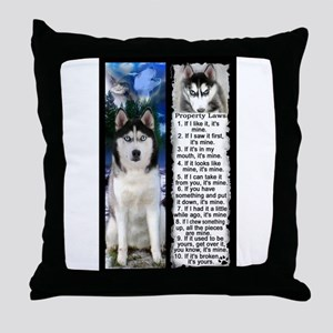 Siberian Husky Dog Laws Rules Throw Pillow