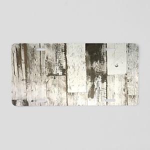 shabby chic whitewash wood Aluminum License Plate