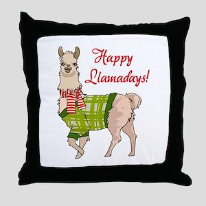 Happy Llamadays Throw Pillow