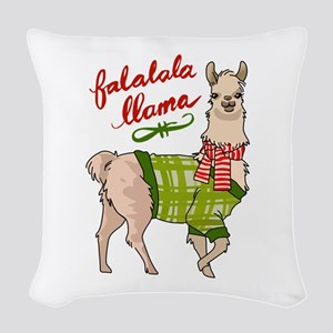 Falalala Llama Woven Throw Pillow
